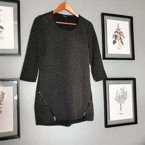 Dark grey tunic with side zippers.